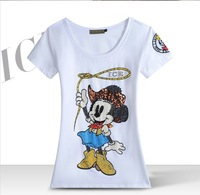 New mickey spring clothing foreign trade wholesale fashion classic manual nail bead design cartoon T-shirt girl