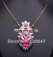 2014 new Fashion Chain Necklace Chunky Choker Luxury Statement Flower women pendant Necklaces bijoux Jewelry Wholesale