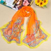 2014 new scarf woman silk scarf, Cashew flowersWillow leaf  160*50cm   FX-172