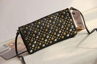 Free shipping Women's rivet handbag messenger bag day clutch multi card holder cartera bolso