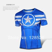 Hot Sale Marvel t Shirt 2014 New Captain America Heroes t Shirt Men's Clothing Sport Jersey Breathable Short Sleeve Shirt 010
