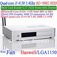 WiFi Mini PC Desktop Computer with Hyper-Threading technology I3 4130 3.4G four generation CPU HD4400 graphics 8G RAM 500G HDD