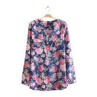 New women's spring 2014 European and American models flower printed cotton round neck long-sleeved shirt Slim pullover shirt