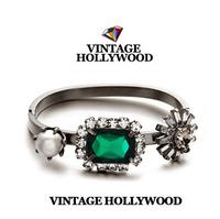 2014 limited edition vintage hollywood top quality green gem pearl bracelet pearl flower crystal vintage bangles&cuff