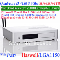 mini pc windows linux pc with Hyper-Threading technology I3 4130 3.4G four generation CPU HD4400 graphics 8G RAM 32G SSD 1TB HDD