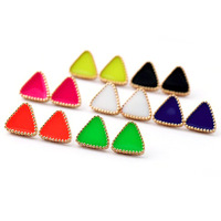 Innovative items neon triangle stud earrings for girls/women green/pink/blue/orange wholesale