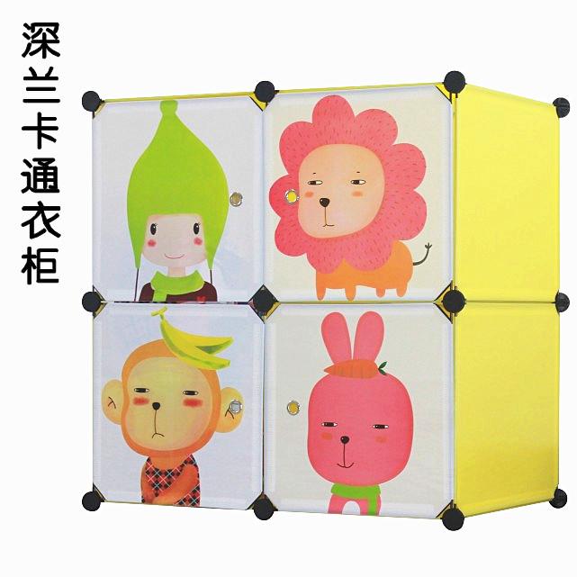 Personalize bebê simples cartoon brinquedo guarda-roupa criança armário de armazenamento de plástico(China (Mainland))