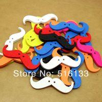 Free Shipping 200pcs/lot Random Mixed Mustache Shape 2 Holes Wood Sewing Buttons Scrapbooking 35x11mm