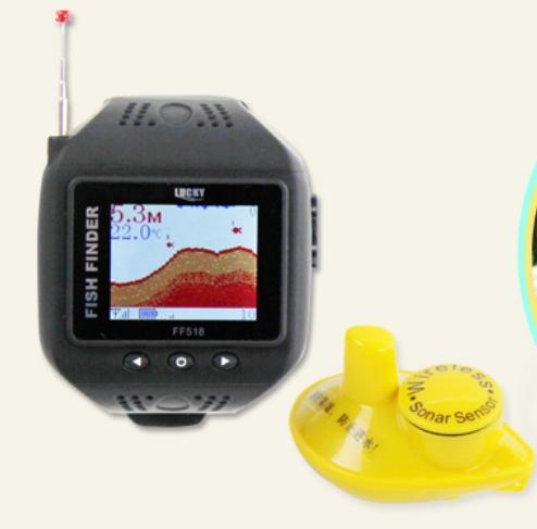 Free shipping Watch type wireless dot matrix fish finder water automatic ff518 size fish Visual(China (Mainland))
