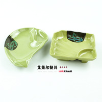 Melamine Snack Tray Porcelain Plate Shell Disc Pork Ribs Plate KTV Plate Rectangle Sushi Flat Plate Fanghaped Dish ,2pcs A Pack