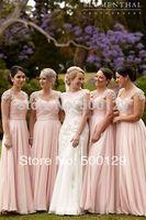 Elegant 2014 Top Selling Cap Sleeves Applique A-Line Chiffon Long Bridesmaid Party Dresses