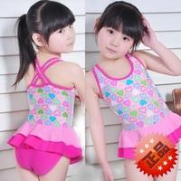 Hot selling 2014 New arrival fashion heart baby child one piece dress girls swimwear kids child swimsuit beach bathing suit