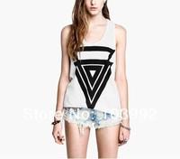 FREE SHIPPING 2014 cotton  cute  fashion Triangle pattern low thermal women vest women tank top women t shirt