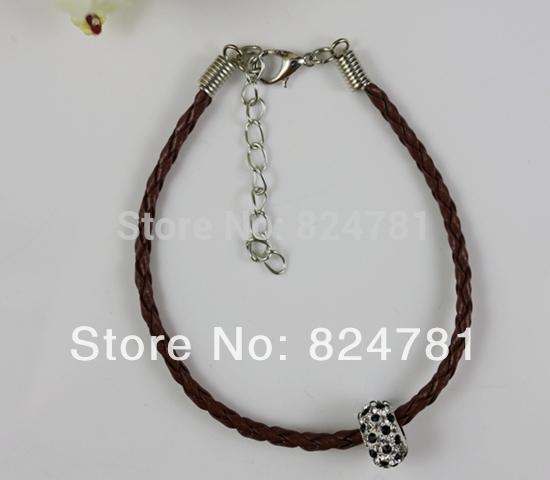 Wholesale Fashion 50 pcs Lobster Clasp Brown Rhinestone Beads Leather Cord Fit Pandora Bracelets 180mm Jewelry DIY A202(China (Mainland))