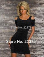 2014 Spring New Fashion Women Black  Cut Out Shoulder Bodycon Dress Casual Dress