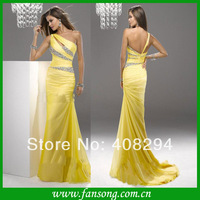FS-1403192018  Elegant A-line Sleeveless one shoulder beaded  Floor length   chiffon Evening dress 2014