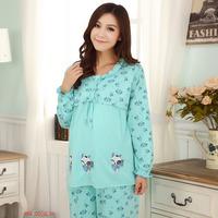 Pregnant Women Nursing Pajamas Breastfeeding Clothes Green Cotton Pajama Set Maternity Clothing Night Wear Sleepwear