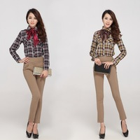 Spring 2014 new Brand plaid shirts fashion slim high quality cotton cloth plus size blouse for women