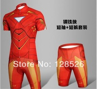 Hot Sale Marvel Sportswear 2014 New Iron man Heroes Men's  Cycling Sets Jersey Breathable Short Sleeve Clothing S-3XL Dropship