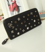 2014 NEW Fashion Rivet Large Zip women Wallet PU leather Retro Punk lady long Purse for woman