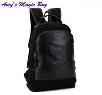 2014 Hot sale canvas PU leather pirates skull printing laptop KNAPSACK children school BACKPACKS man double shoulder bag black