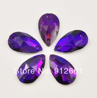 Free shipping(84pcs/lot) Purple Velvet 11*18mm  drop SEW-ON  rhinestone button