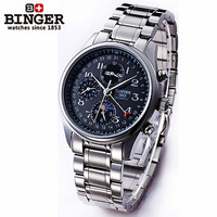 2014 Man watch 24 hours moon phase calendar watches steel Automatic mechanical dress wrist watch Multifunction army wristwatch