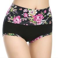 New 2014 Plus Size High Quality Cotton Women Underwear Flower Print High Waist Panties Ladies Shorts wholesale 5pcs/lot