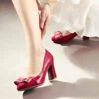 2014 spring bow genuine leather shoes thick heel high-heeled shoes women's