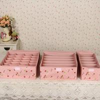 2014 Cherry Print waterproof underwear storage box three-piece (6 grid+6 grid +24 grid) 3pcs/set  for bra socks Free shipping