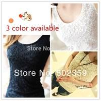 Full Lace girls Vest 2014 Hot Selling Style women's t shirt  Women girls tank tops soft 3 color Free ShippingNZ-0318