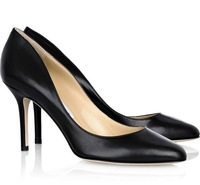 2014 New arrival designer woman high heel handmade high quality sheep skin thin heels pointed toes black color size 35-41