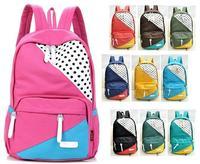 2014 Fashion Candy color Women Canvas Dot Backpack for Girl Student Schoolbag Book Travel bag Mochila Bolsas Free shipping