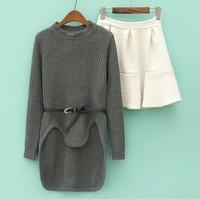 Spring new Korean women's long sleeve knit sweater skirt hem irregular piece A10-2480