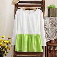 14 spring and summer women's spell color sweet little fresh line skirt chiffon shirt blouse bc-2505