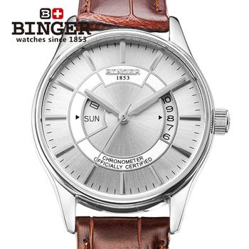 Люксовый бренд швейцарский бингер стальной ленты часы мужчины механическая рука ветер модные часы скелет self-ветер наручные часы горячая распродажа