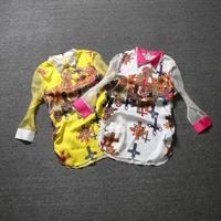 Free shipping! 2014 spring female fashion shirt print turn-down collar organza chiffon three quarter sleeve shirt women's