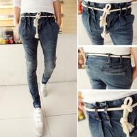 free shipping Hot-selling with belt ! 2014 spring preppy style  men jeans men skinny jeans men harem pants  Retail