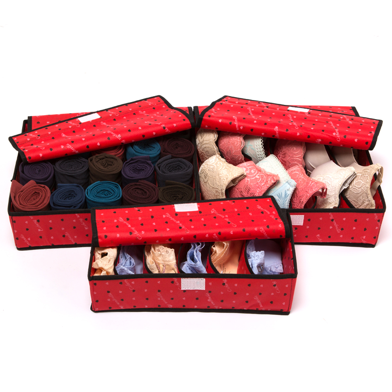 3pcs/lot Free shipping cheap Lovely design household storage underwear,bra,socks,storage boxes case with a cover organizers(China (Mainland))