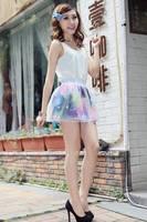 2014 Hot sell Fashion Vintage HARAJUKU zipper gradient beautiful skirt organza half-length skirt Free shipping