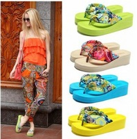 2014 Summer bohemia flower flip flops platform wedges women sandals platform flip slippers beach shoes