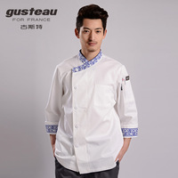 [10pcs]  cook suit august blue and white porcelain series cook suit work wear long-sleeve  chef coat Italy chefs uniforms