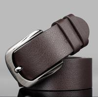 2014 New Fashion Men's genuine leather Belt Metal Buckle Simple style Belt Big size Gift belt for Men free shipping