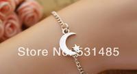 20pcs/lot crescent moon bracelet,star bracelet,retro silver little cute star and crescent moon pendant