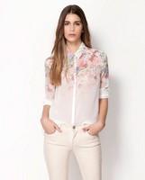 Lady Casual New Lapel Collar Button Flowers Tops Chiffon Long Sleeve Women Shirt 2014 New Arrival Women Chiffon Top Hot Sale