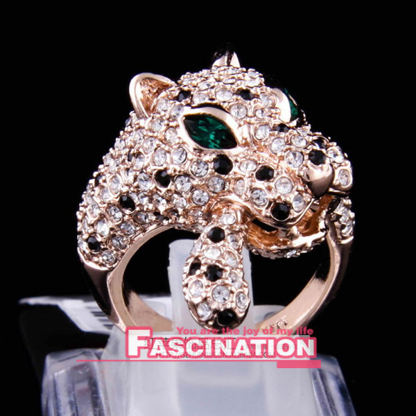 new Austrian Crystal wedding Luxury cz leopard ring for women 18K Gold Plated Made with Genuine Wholesale price-2 colours(China (Mainland))