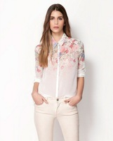 Lady Casual New Lapel Collar Button Flowers Tops Chiffon Long Sleeve Women Shirt 2014 New Arrival Women Chiffon Top Hot Sale