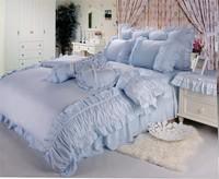 Rustic FAIRYFAIR 100% bedding cotton four piece set princess dream blue bedding