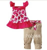 Retail new 2014 girl clothing set  rose print girls clothing sets summer suit shirt+shorts size:90 100 110