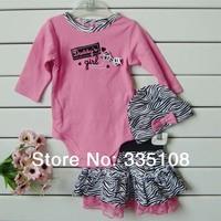 Retail 2014 New Baby girls 3pcs suits:long sleeved Rompers + zebra tutu skirt +headband(hat) Pink Girls princess clothing sets